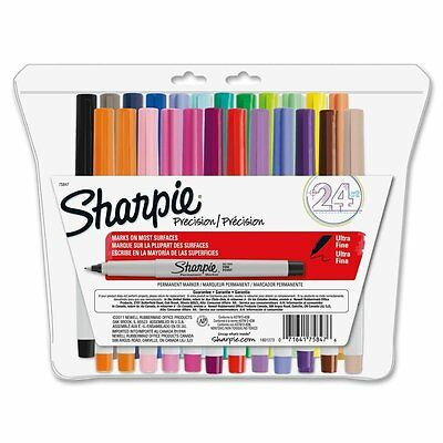Sharpie Ultra-Fine-Point Permanent Markers, 24-Pack Colored Markers (75847), New