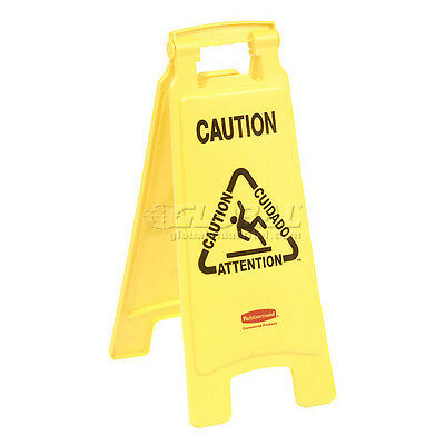 Rubbermaid 6112 Floor Sign 2 Sided Multi-Lingual - Caution