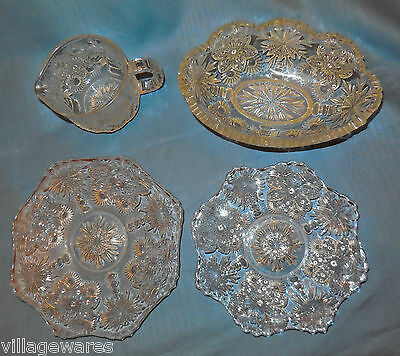 Four Pieces of 1912  Flower and Fan Pattern Glass by U.S. Glass Company