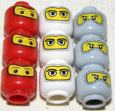 LEGO LOT OF 9 MASKED MINIFIGURE HEADS RED GREY AND WHITE RACE CAR DRIVER FACES
