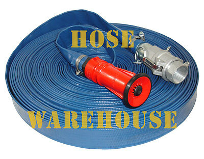 "Fire Fighting Lay Flat Hose, Fog/Jet Nozzle, Camlock couplings, 1"" I.D. x 30mtrs"