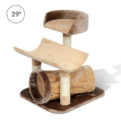 "Pawhut 29"" Cat Tree with Tunnel Scratching Post Pet Furniture Brown"