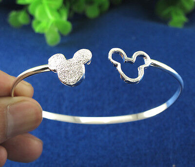 NEW HOT SALE Sterling Silver LOVELY MOUSE Charming Cuff Bangle Bracelet