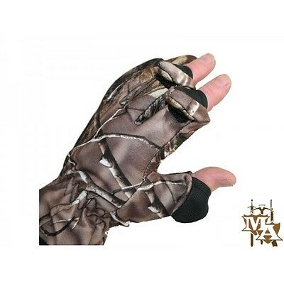 Camo Neoprene Gloves Folding Fingers, Fishing - Shooting - Hunting - M,L,XL -NGT