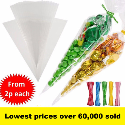 Clear Cellophane Cone Bags Twist Ties Large size Party Sweet Cello Candy