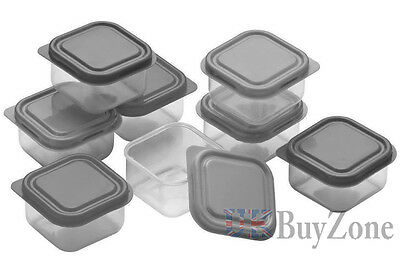 10 Plastic Food Containers Baby Mini Weaning Freezing Pots Boxes Freezer Storage