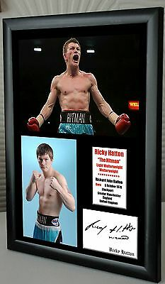 "Ricky Hatton ""The Hitman"" Boxing  Framed Canvas Print Signed ""Great Gift"""
