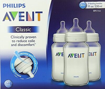 Philips Avent BPA Free Classic Polypropylene Bottles, 3 Count, 11 Ounce, New