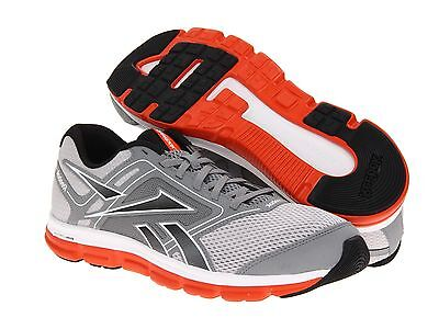 buy popular 1db29 323d6 Reebok Mens Dual Turbo Flier Running Shoes Grey Orange White New All Sizes