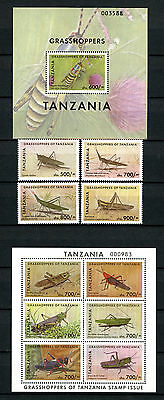 Tanzania 2011 MNH Grasshoppers 4v Set 6v M/S 1v S/S Locusts Insects Stamps