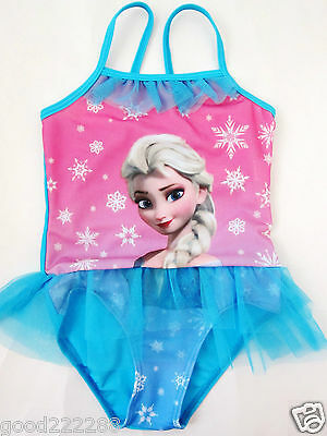 New Disney Princess Frozen Queen Elsa Girls One Piece Tutu Swimsuits 2Y-8Y #GK