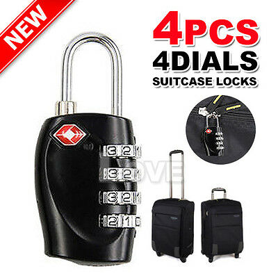 4x Combination Padlock 4-Dial TSA Resettable Locks Luggage Suitcase Travel OZ