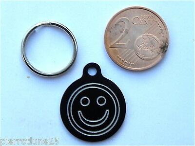 MEDAILLE GRAVEE RONDE SMILEY NOIRE CHATON CHAT collier medalla cane hund katze