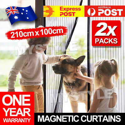 OZ Magnetic Door Curtain 2x Black Fly Screen Magic Magna Mosquito Bug Mesh