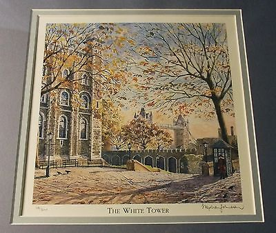 'The White Tower' Signed and Framed Print by Johnson, Tower of London