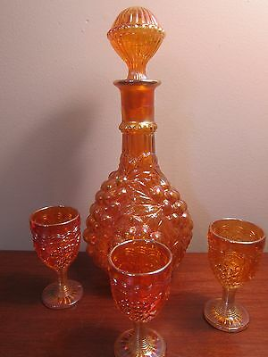 Imperial Marigold Old Carnival Glass Imperial Grape Decanter + Cordial Glasses