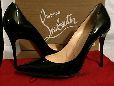best sneakers 5778b e8970 CHRISTIAN LOUBOUTIN DECOLLETE 100 Black Patent Leather Pumps Heels Shoes  38.5