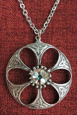 Celtic Pendant Endless Knot Dome Iona Clear AB Crystal Pewter Necklace