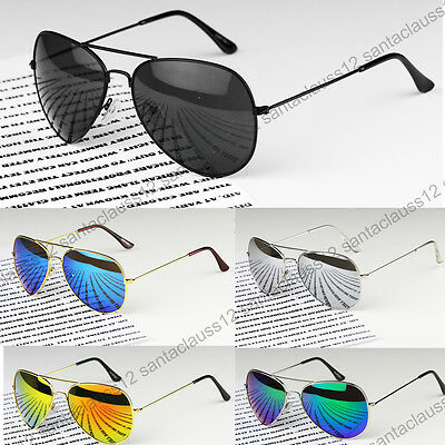 Classic Pilot Sunglasses Metal Frame Mirror Lenses  UV400 Womens Mens