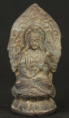 Nice Asian Old Bronze Collectable Hand Carved Buddhism Kwan-Yin Ornament Statue