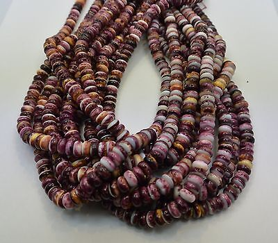Purple Spiny Oyster Shell Purple White Rondelle  8 MM Beads