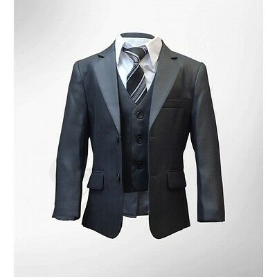 Boys 5PC Formal Dark Grey Suit Italian Design Page Boy Wedding Suits Age 1 to 15