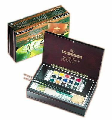 Daler Rowney Artists Quality Watercolour Half Pan Wooden Box (130900555)