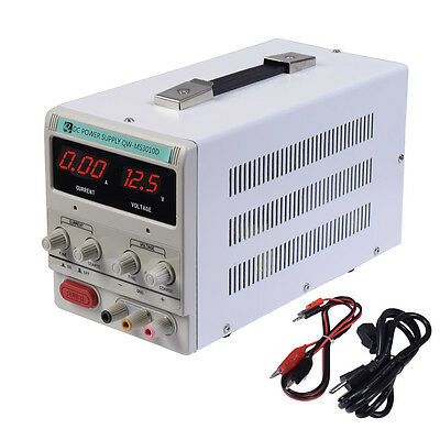 10A 0-30V Adjustable DC Power Supply Precision Variable Digital Lab w/clip CE