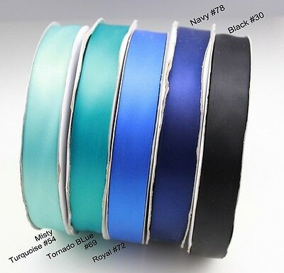 <Blue Black> 9-38mm 1mtr Satin Ribbon Scrapbook Craft Gift Wrap Hair Wedding