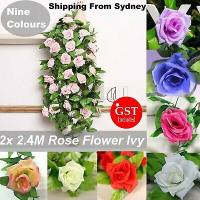 2X 2.5M Artificial Fake Silk Rose Flower Ivy Vine Leaf Hanging Wedding Decor