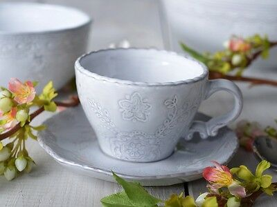 MIKASA Hush GREY EMBOSSED Stoneware CUP AND SAUCER