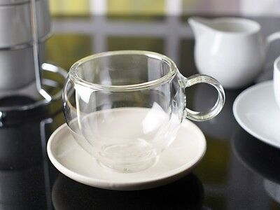 LA CAFETIERE Large BOLA Insulated GLASS CUP & CREAM SAUCER