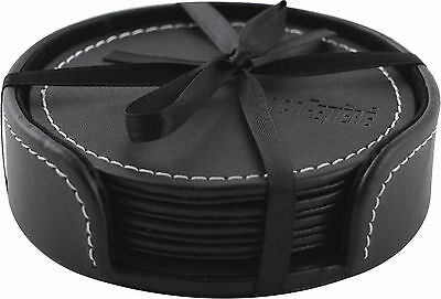Set of 4 LA CAFETIERE Embossed BLACK Faux Leather COASTERS with HOLDER
