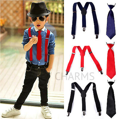 Children Boys Kids Party Elastic Necktie + Y-Back Clip-on Adjustable Suspenders