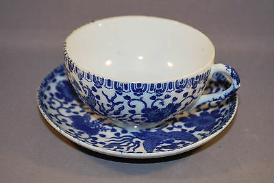 Flow Blue Phoenix Bird made in Japan China Cup and Saucer