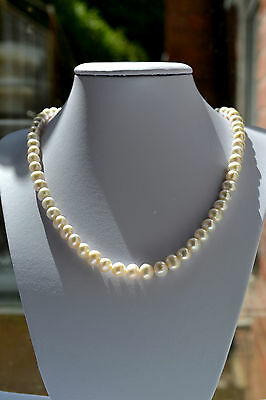 """Sterling Silver 925 Genuine Fresh Water 7-8mm White Pearl 18"""" Necklace"""