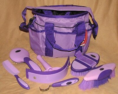 6 Piece Showman Deluxe Grooming Kit with Nylon Carrying Bag Horse or Pony PURPLE