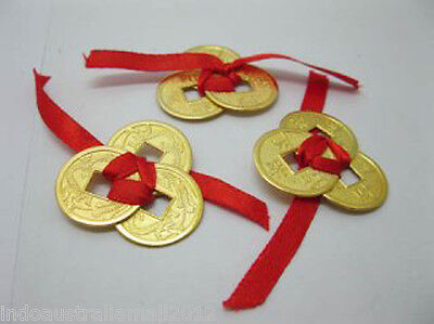 3 Set of 3 Chinese Golden I-Ching Double Dragon Coins tied with red Ribbon(CO35)
