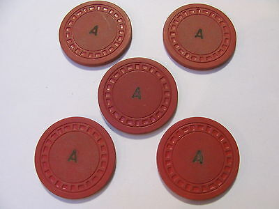 "Gambling Chip, Clay (Red ""a"" ) 100  ""super Speed Poker Checks"""