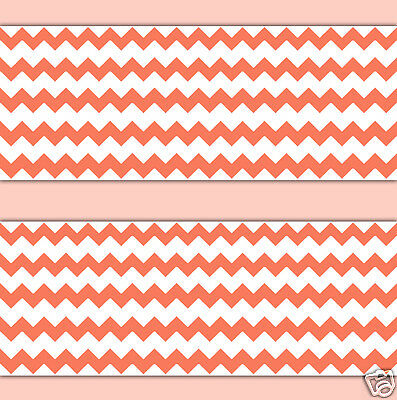 Coral Chevron Wallpaper Border Wall Decals Baby Girl Nursery Room Stickers Decor