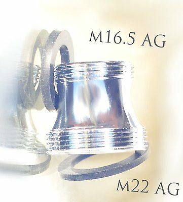 M16,5 AG x M22 AG Gewindeadapter, M16,5 male x M22 male, external thread adapter