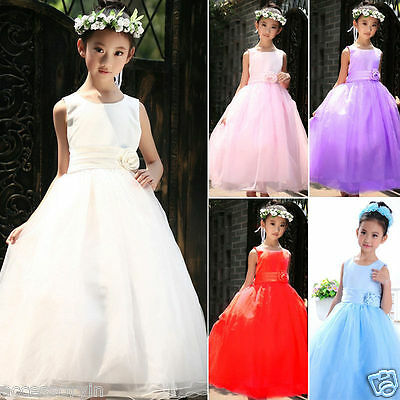 Girls Party Bridesmaid Princess Prom Wedding Christening Flower Dress Age 2-12