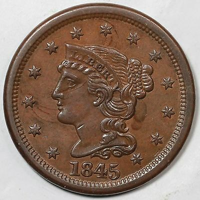 1845 N-9 R-2 Tied CC#4 of Rare LDS Braided Hair Large Cent Coin 1c