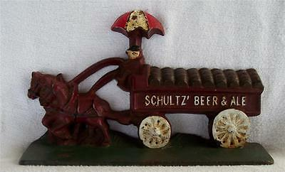 VINTAGE SCHULTZ' BEER and ALE Door Stop Horse wagon barrels primitive