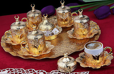 27 Pc Ottoman Turkish Greek Arabic Coffee Espresso Serving Cup Saucer Gift Set