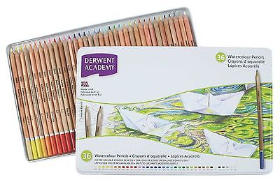 Derwent Academy Watercolour Pencils - Water Colour Soluble Colouring  - 36 Tin