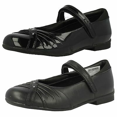 Clarks Girls Dolly Shy Inf & Jnr Black Patent Or Leather Mary Jane School Shoes