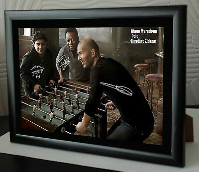 "Pele, Maradona & Zidane Framed Canvas Print Autographed.""Great Souvenir or Gift"""