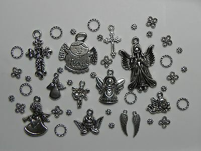 Lot Tibetan Silver ANGELS, CROSS, Connector & More Charms Pendant Findings