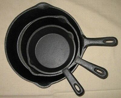 Cast Iron Skillet Fry pan Reg Handle Cookware Camping Stovetop